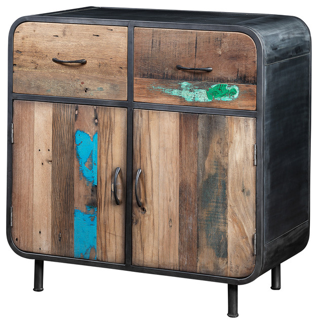recycled boat wood and industrial metal sideboard. Black Bedroom Furniture Sets. Home Design Ideas