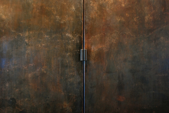 Rust Patina Steel Wall With Doors