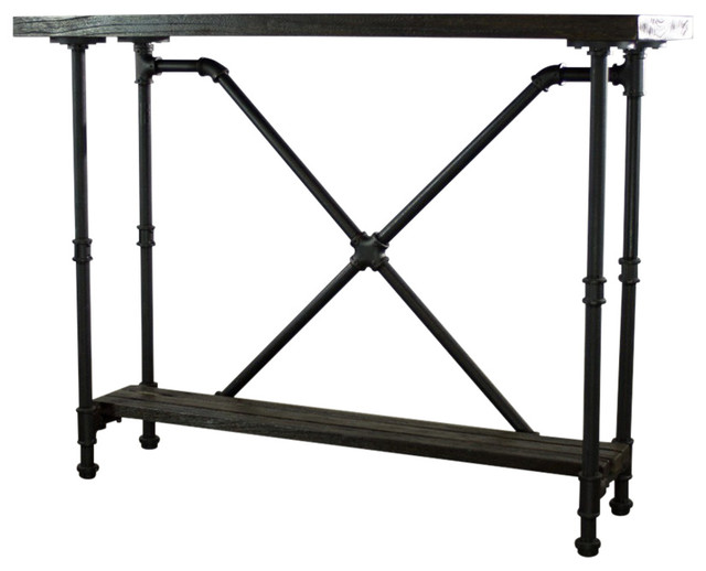 Stupendous Os Home And Office Industrial 2 Tier Pipe Console Table Metal Reclaimed Wood Machost Co Dining Chair Design Ideas Machostcouk