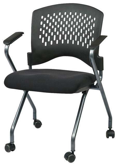 Deluxe Folding Chair With Ventilated Plastic Wrap Around Back Contemporary Office Chairs