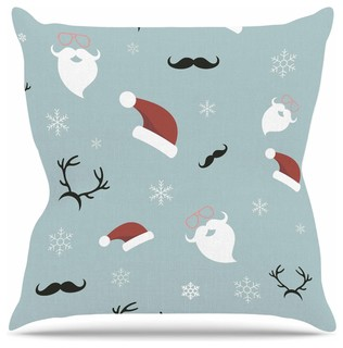 "Louise ""Happy New Year!"" Christmas Teal Santa Throw Pillow, 26""x26"""