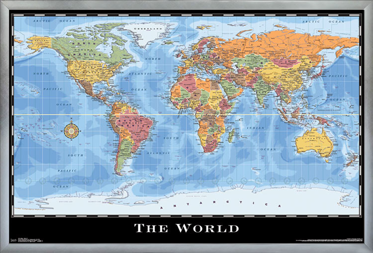 Map World Poster Contemporary Prints And Posters By Trends International
