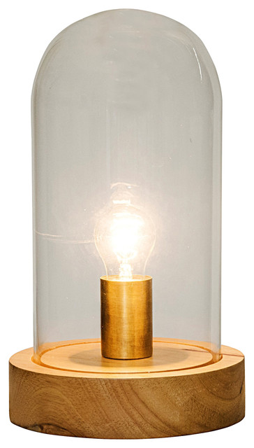 Adam Industrial Light Brown Walnut Glass Dome Table Lamp, 12.5H Industrial  Table
