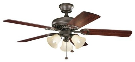 "Kichler Sutter Place Premier 50"" Indoor Ceiling Fan With 5 Blades Olde Bronze."
