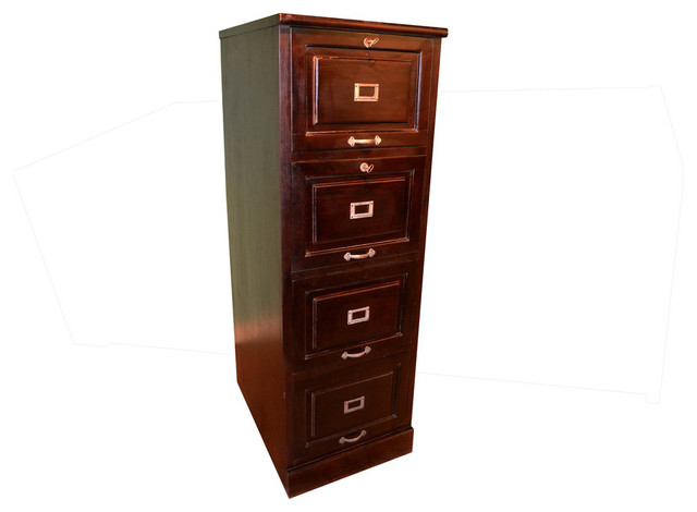Crafters and Weavers 4-Drawer Lockable File Cabinet in Walnut Stain - Craftsman - Filing ...