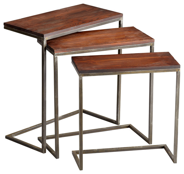 Jules Nesting Tables, Set Of 3 Industrial Coffee Table Sets