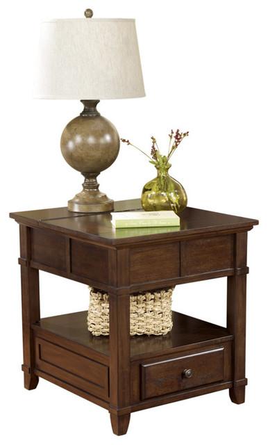 Ashley Gately Medium Brown Rectangular End Table Traditional - Ashley gately coffee table