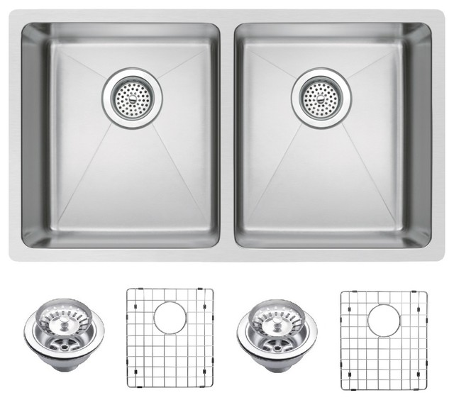 50/50 Double Undermount Sink With Coved Corners, Drain, Strainers, Bottom  Grid