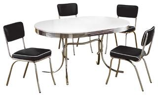 Retro Oval Table Cushion Chair Chrome Dining 5 Piece Set