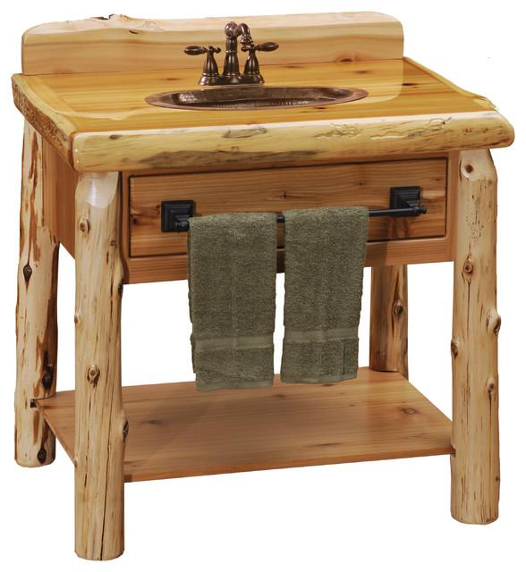 Cedar Open Vanity With Shelf, Without Top - Rustic - Bathroom ...
