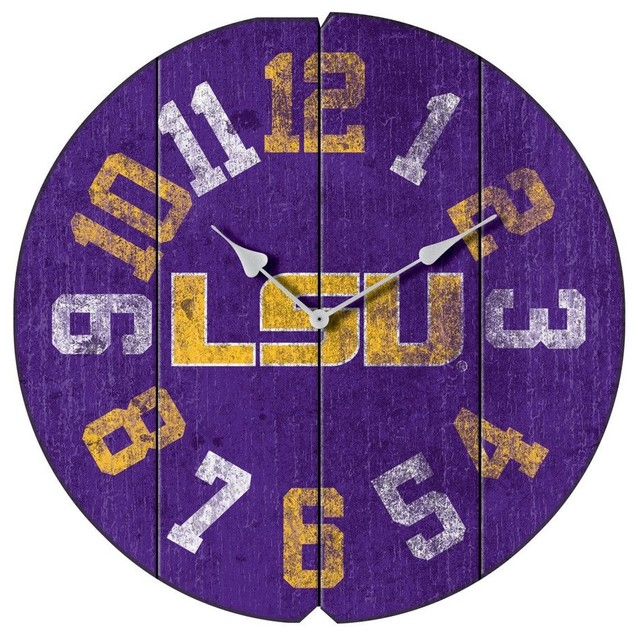 Lsu Tigers 16 Quot Weathered Wood Wall Clock Contemporary