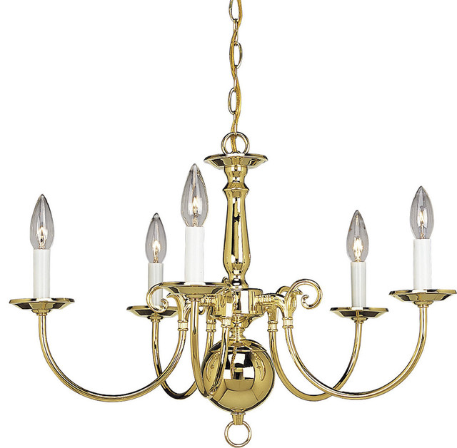 Americana 5-Light Chandelier, Polished Brass and White finish candle sleeves