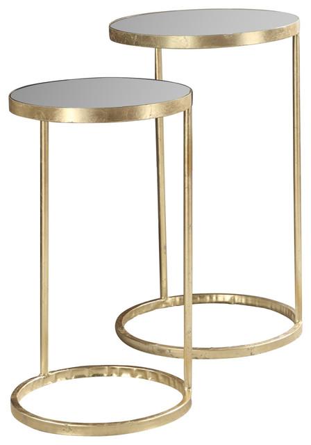 Gold Coast 2 Piece Mirrored Nesting Tables Set