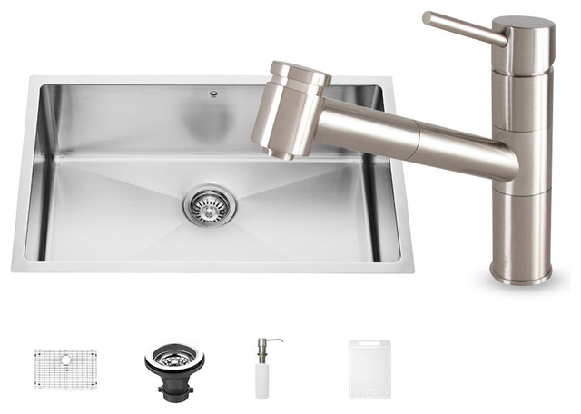 Vigo All In One Stainless Steel Undermount Kitchen Sink