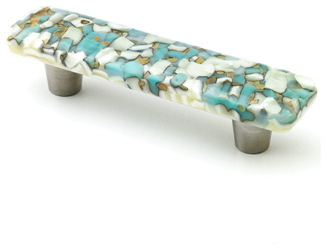 Windborne studios pebbles glass knobs and pulls for Turquoise cabinet pulls