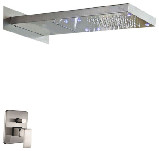led brushed nickel bath solid brass two ways shower head