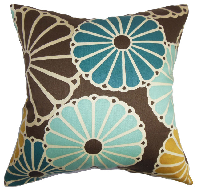 Houzz Spring Landscaping Trends Study: Gisela Floral Bedding Sham Turquoise Brown, 26x26