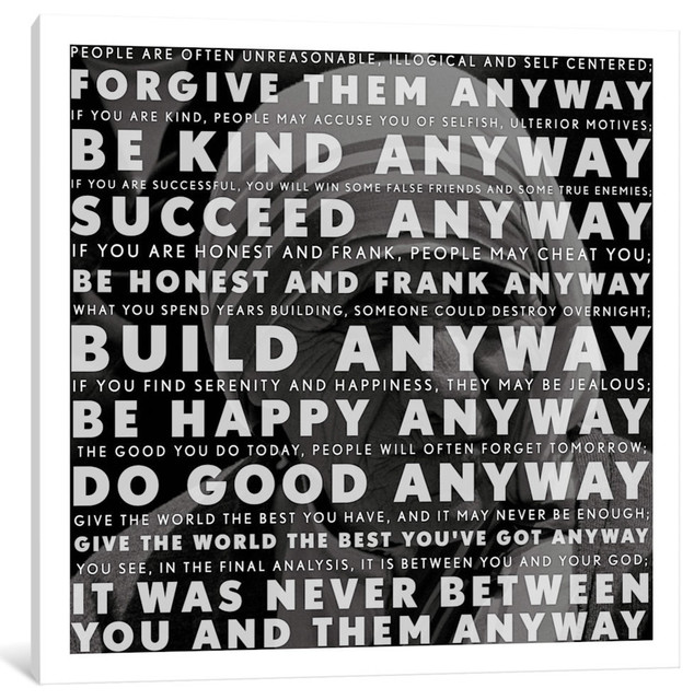 """""""Mother Teresa Quote"""" Wrapped Canvas Art Print, 18x18x0.75"""