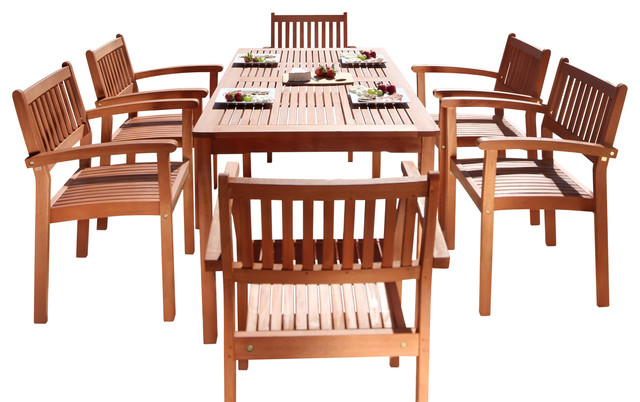 Malibu Eco Friendly 7 Piece Wood Outdoor Dining Set With Stacking Dining  Chairs Craftsman