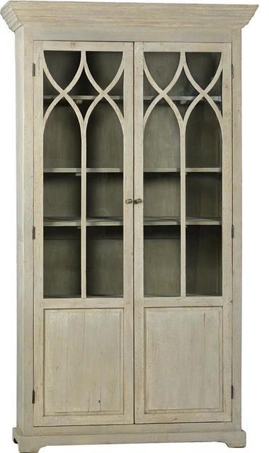 Addison Antique Gray Glass Display Cabinet.