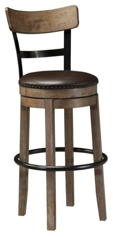 "Bowery Hill 30.25"" Faux Leather Swivel Bar Stool in Light Brown"
