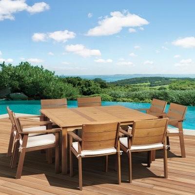 Amazonia Deerfield Eucalyptus Square Patio Dining Set Seats 8