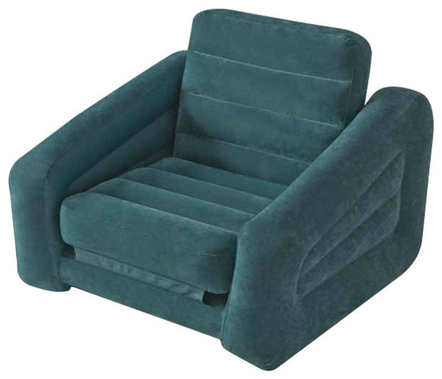 Inflatable Twin Bed Lounge Teal Pull Out Chair Bed Indoor Outdoor Outdoor L