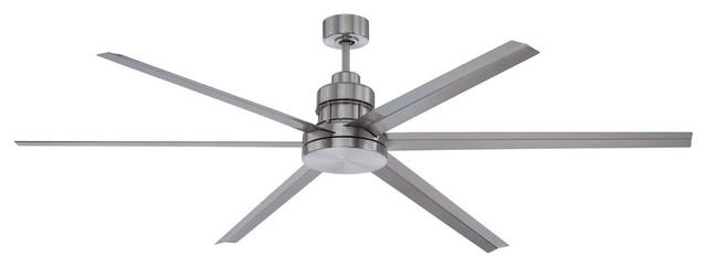 72 Mondo Ceiling Fan, Brushed Polished Nickel, 6-Light.