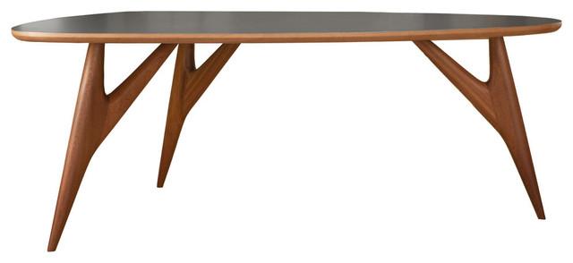 Handmade Ted 3-Leg Table, Mahogany, Large, Slate Grey Laminate
