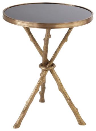 Twig Branch Tripod Accent Table, Brass Gold Black Granite Organic Shape
