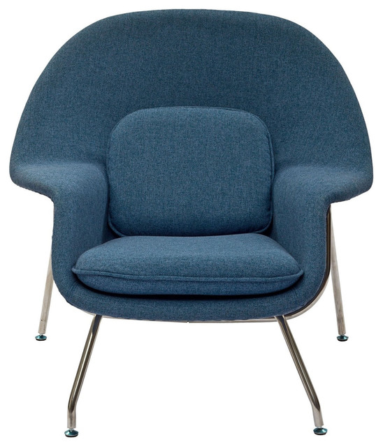 Modway w fabric accent chair with ottoman orange tweed for Blue chaise lounge indoor