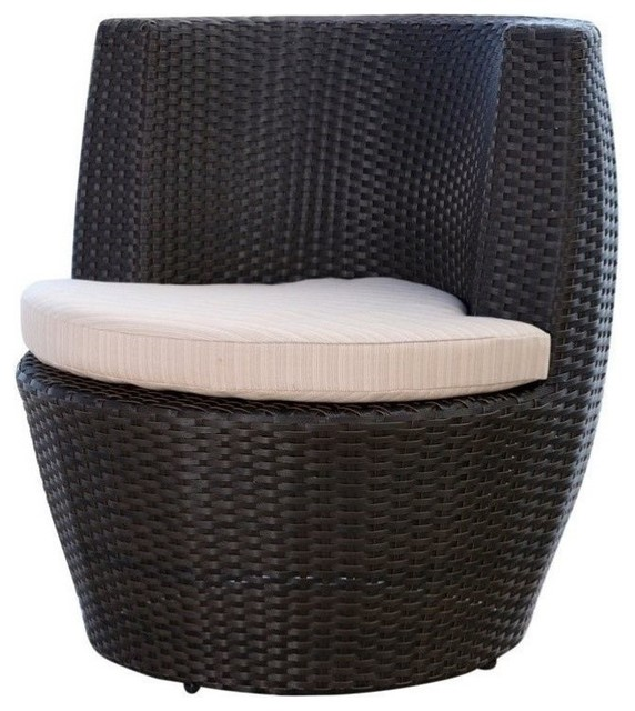 Abbyson living aden outdoor wicker bistro chair espresso for Chaise and lounge aliso viejo