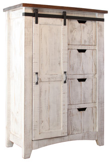 greenview barndoor dresser with 4 shelves and 4 drawers