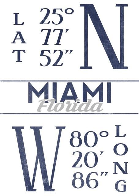 Quot Miami Florida Latitude And Longitude Blue Quot Print