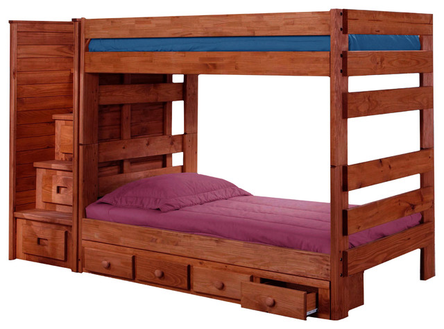 Jericho Extra Long Twin Over Twin Stairway Bunk Bed