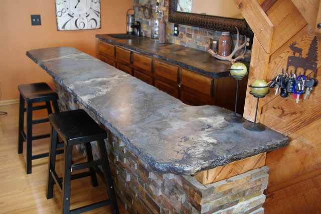 Rustic Stone Countertops : Rustic outdoor concrete countertop kitchen