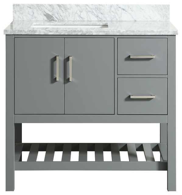 Flora Gray Bathroom Vanity With Marble Top, 37''