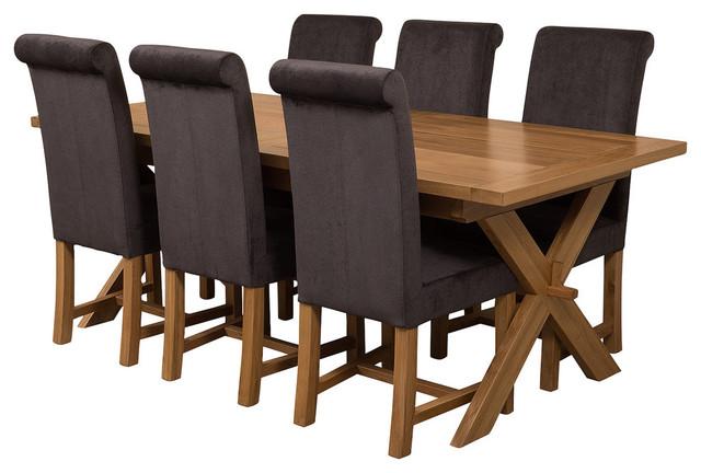 Vermont Oak Extending Dining Table, 6 Washington Chairs, Black Velvet Effect