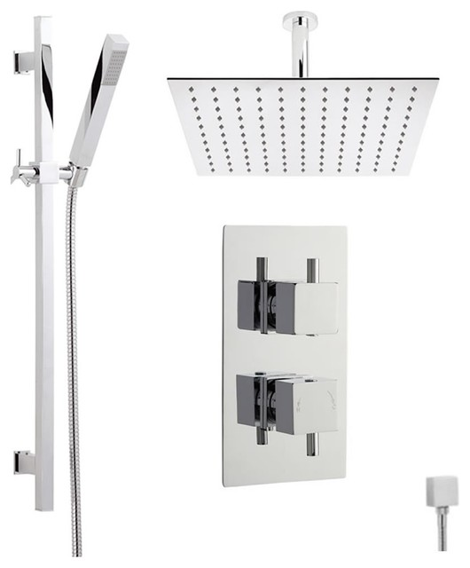 Astbury Thermostatic Shower System With Square Head, Slider Rail and ...