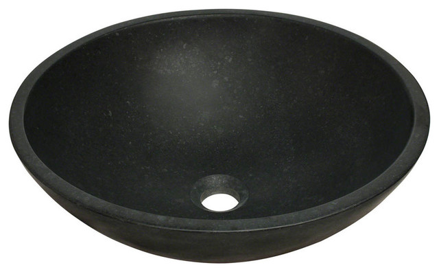 Polaris Honed Basalt Black Granite Vessel Sink.
