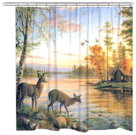 Deer On Sunet Lake Shower Curtain