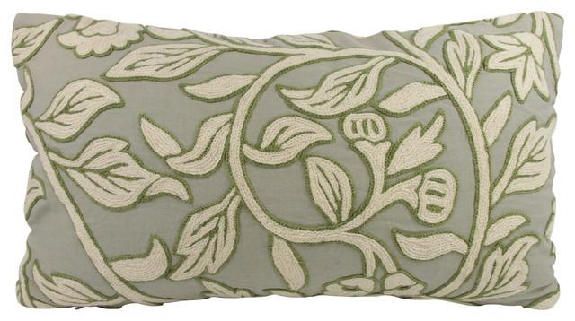 Sage Green Crewel Work Lumbar Throw Pillow with Feather/Down Insert - Contemporary - Decorative ...