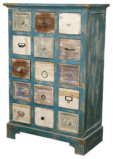 Tuscany 15-Drawer Cabinet, Distressed Teal - Farmhouse ...