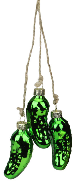 Pickle Christmas Ornament.8 5 Shiny Green Pickle Cluster Trio Glass Christmas Ornament