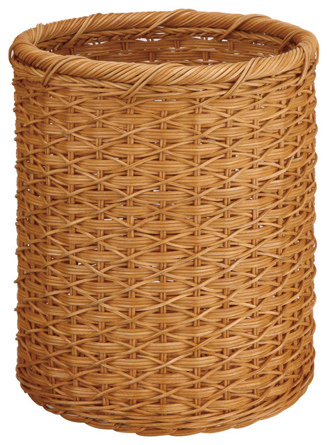 Round Wicker Wastebasket Wastebaskets By Organize It All