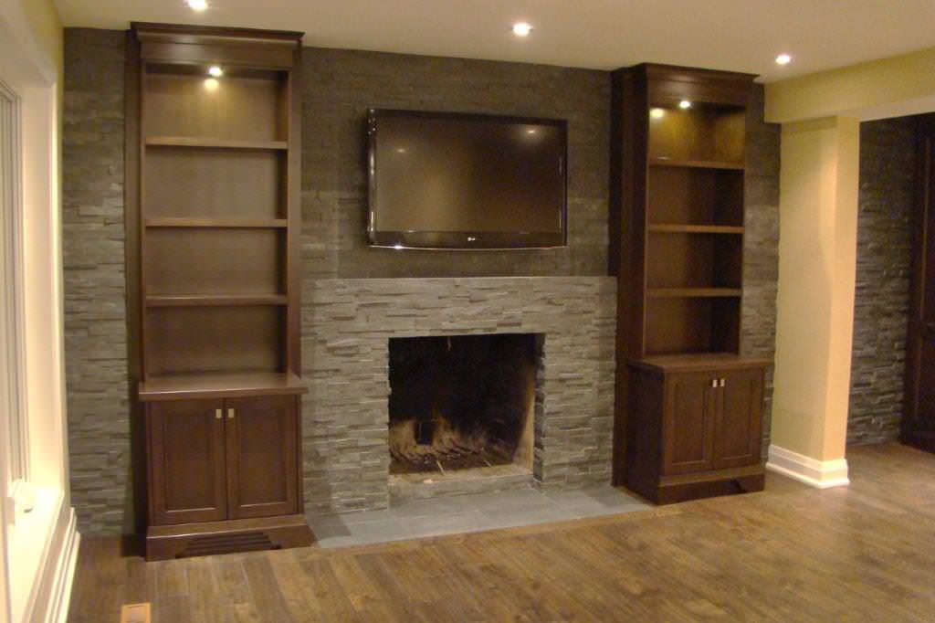 Family Room with Dark Custom Cabinetry