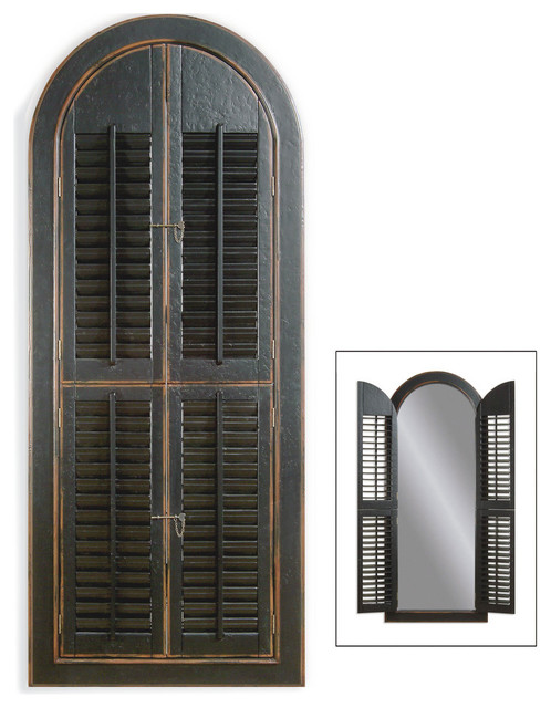 Arched Shutter Mirror Traditional Wall Mirrors By Bassett