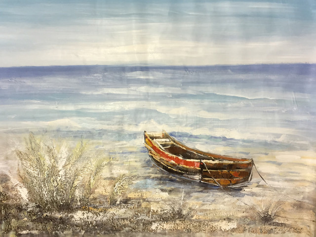 """""""Sea and A Boat"""" Hand Painted Oil Canvas Artwork; Modern Art; Fine Art"""