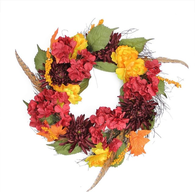 "24"" Autumn Harvest Peony, Mum & Feather Artificial Thanksgiving Wreath, Unlit."
