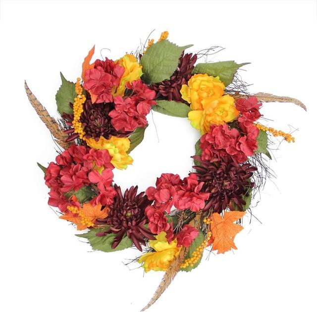 24 Autumn Harvest Peony, Mum & Feather Artificial Thanksgiving Wreath, Unlit.